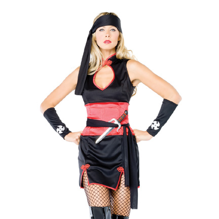 Black Shirt Dress on Ninja Master Costume By Leg Avenue Includes Mandarin Collar Dress